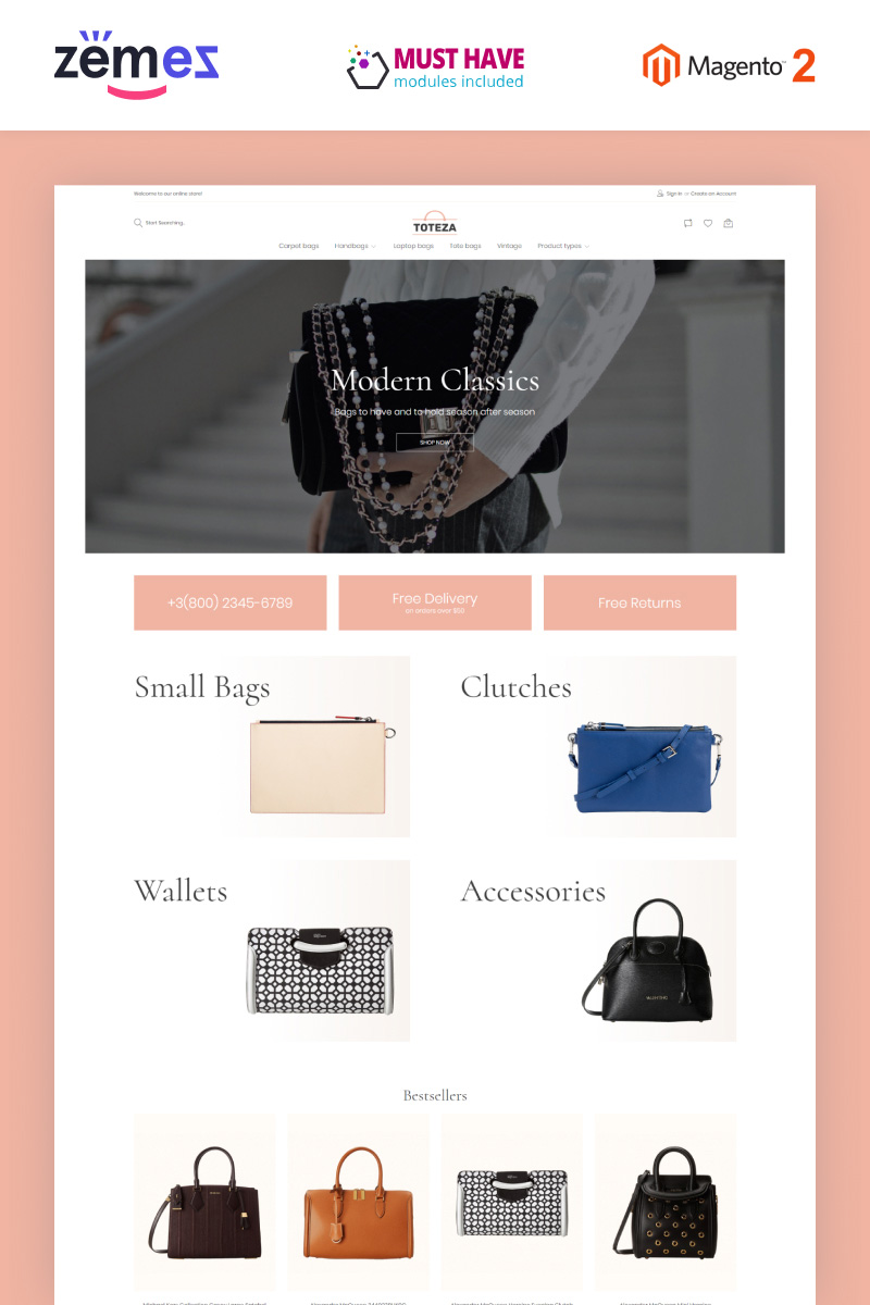 """""""Toteza - Bags Store Template"""" 响应式Magento模板 #96925"""