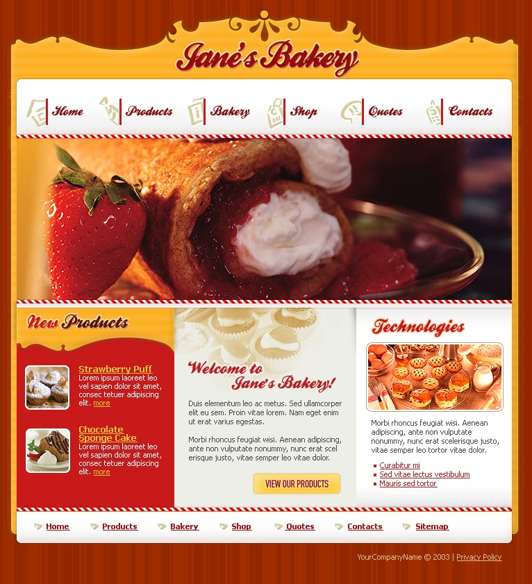 Bakery Website Template #9710