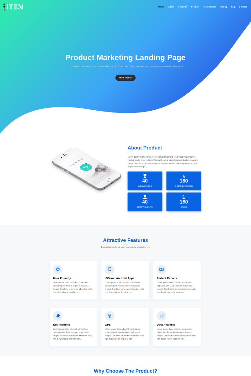 "Landing Page Template namens ""ITEN - Product"" #97021"