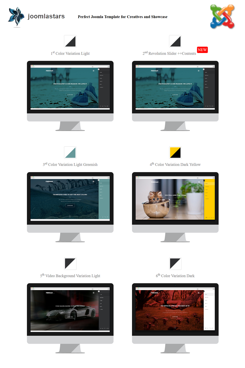 "Modello Joomla Responsive #97013 ""Freeman - Multipurpose One Page"""