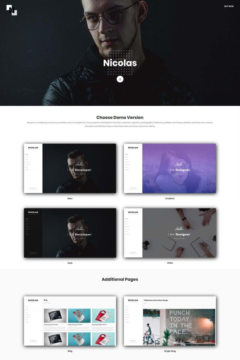 Nicolas - Multipurpose Personal, Portfolio and CV Landing Page Template