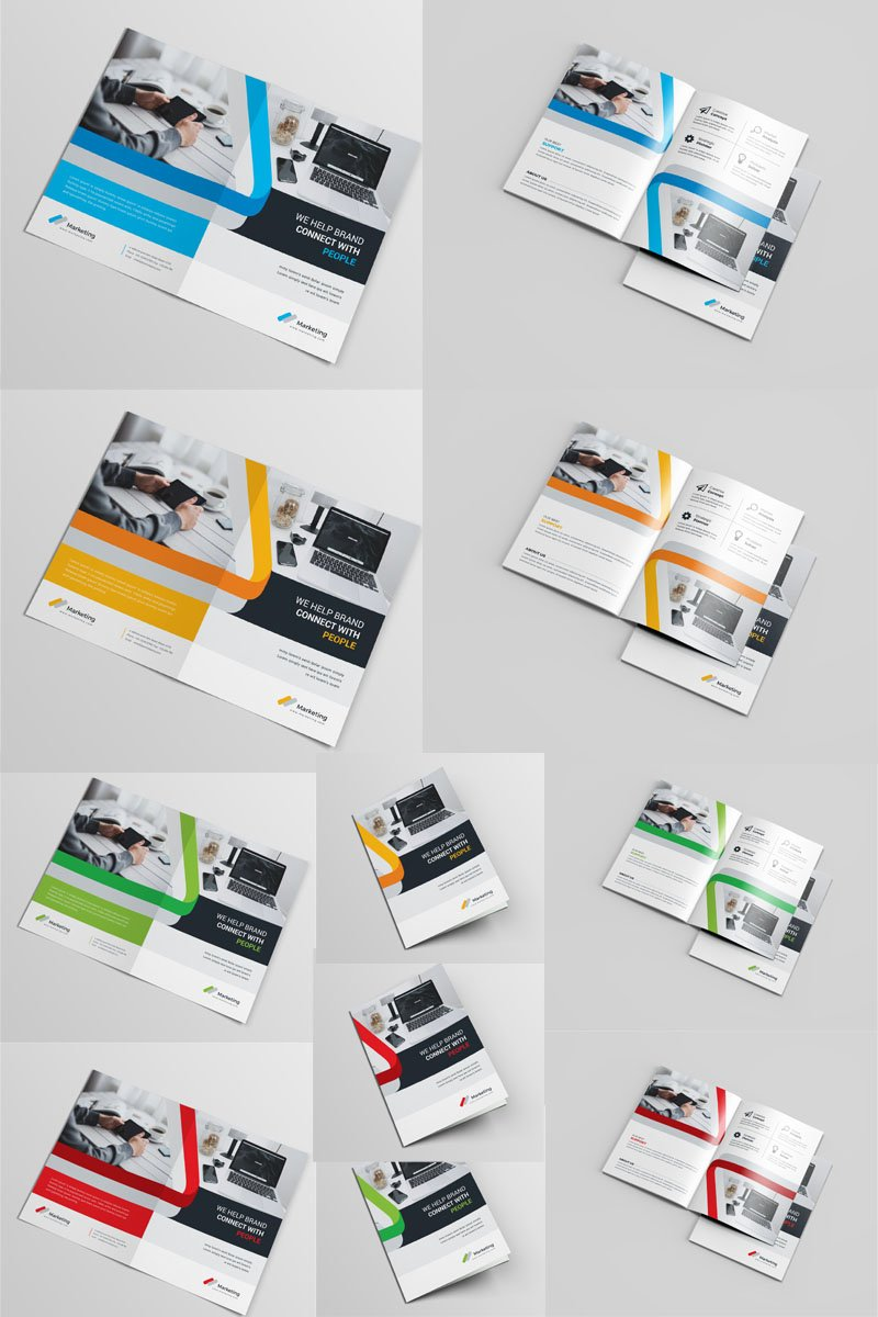"Plantilla De Identidad Corporativa ""Green Color Business Bi-Fold"" #97031"