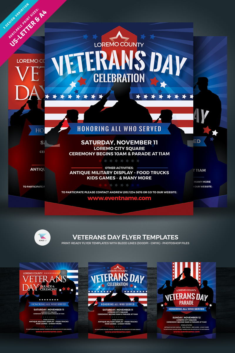 "Plantilla De Identidad Corporativa ""Veterans Day Flyer"" #97032"