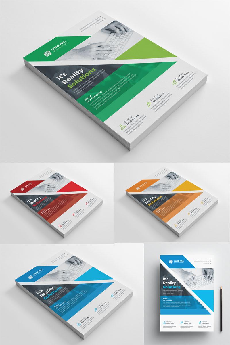 """Unternehmensidentität Vorlage namens """"Green Color Flyer"""" #97036"""