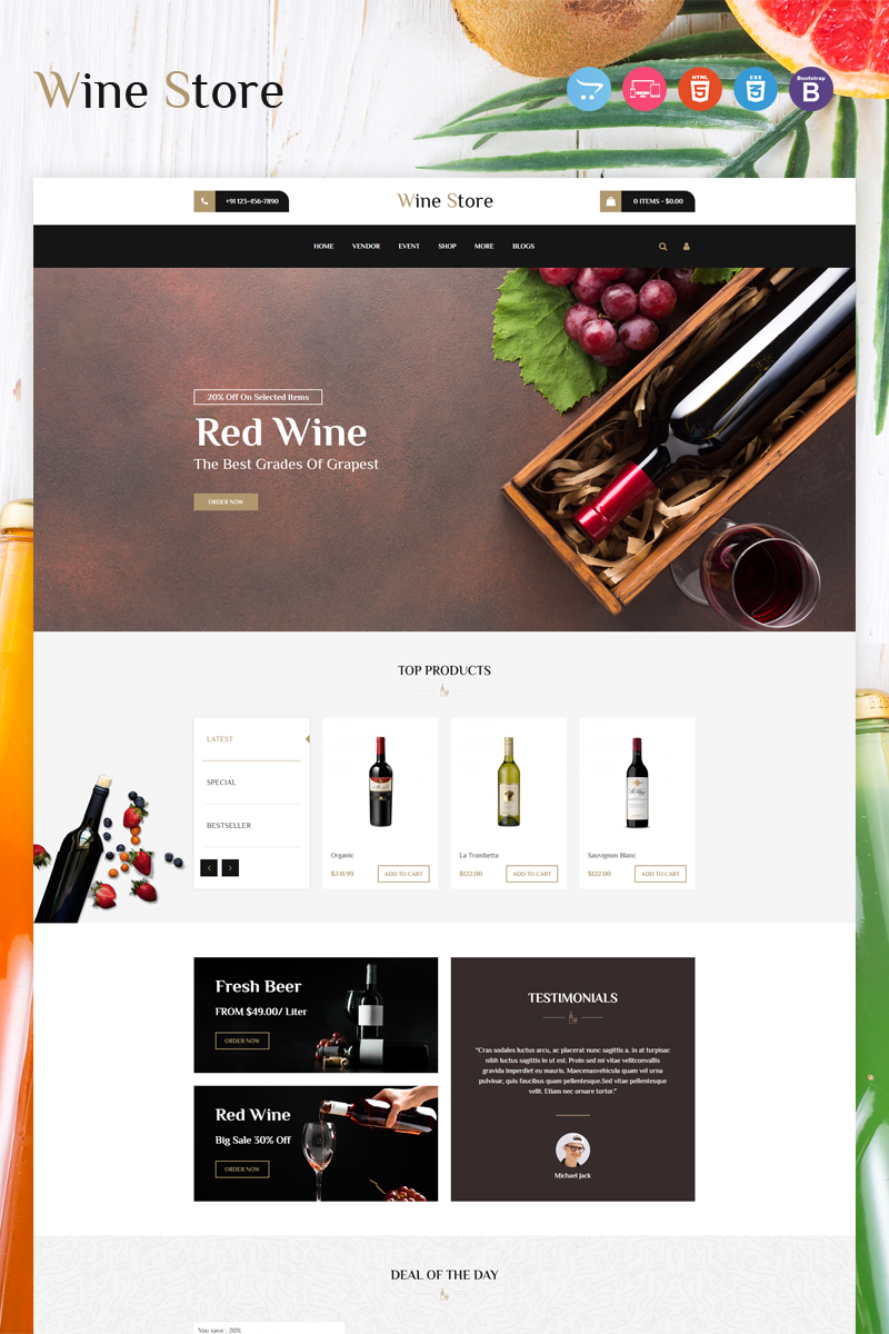 """Wine"" OpenCart模板 #97014"