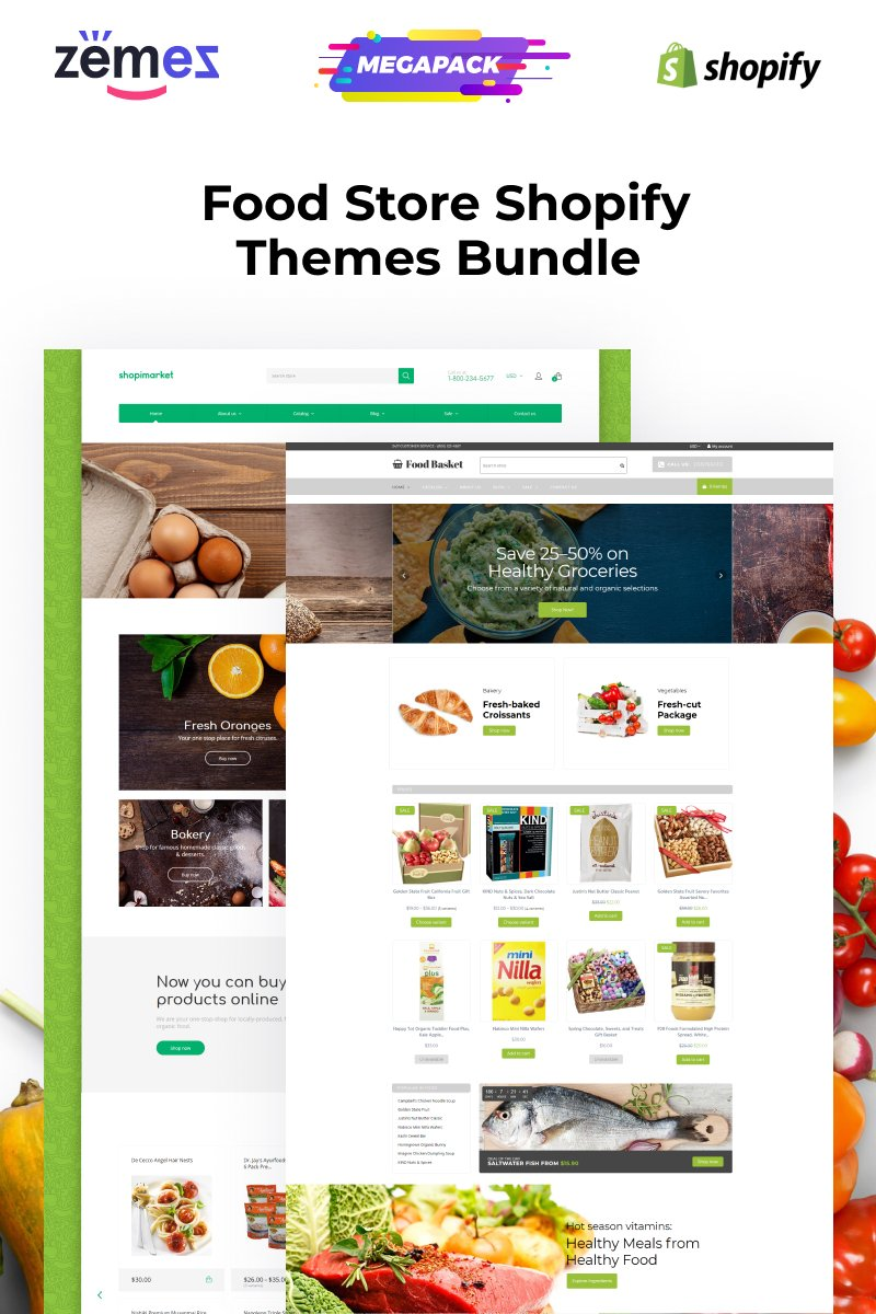 Responsivt Shopify Themes for Food Shopify-tema #97143