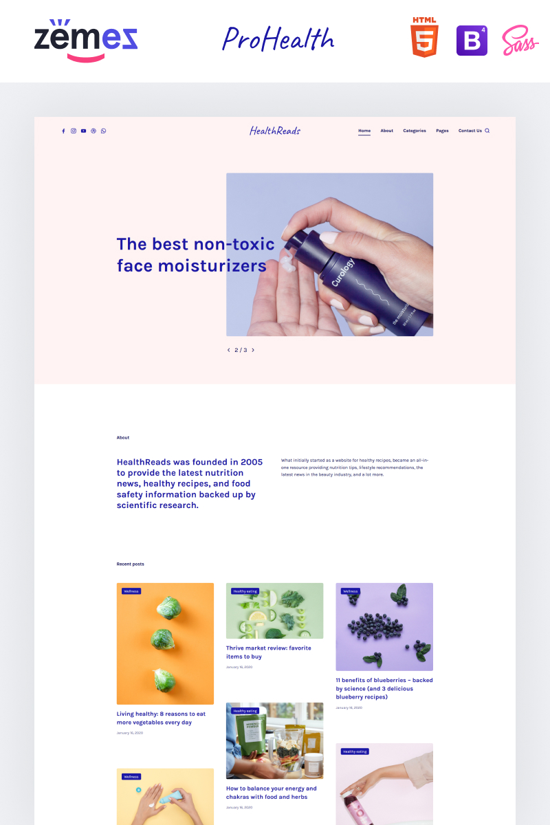 """HealthReads - Healthy Living"" Responsive Website template №97205"