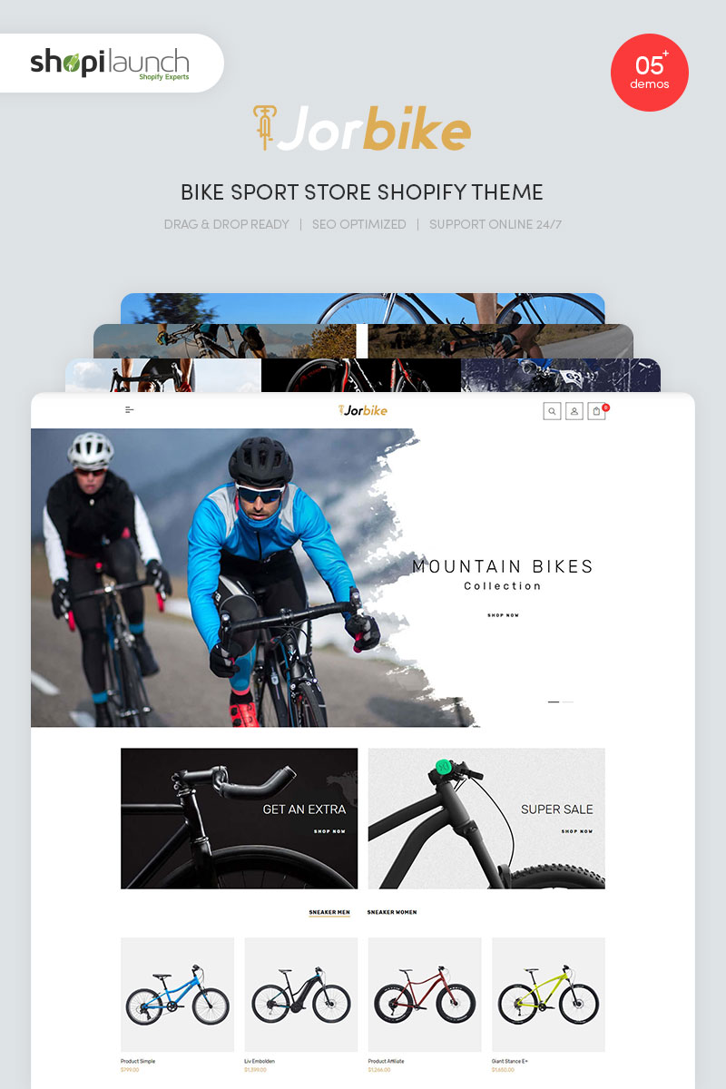 """""""Jorbike - Bike Sport Store"""" - Shopify шаблон №97210"""