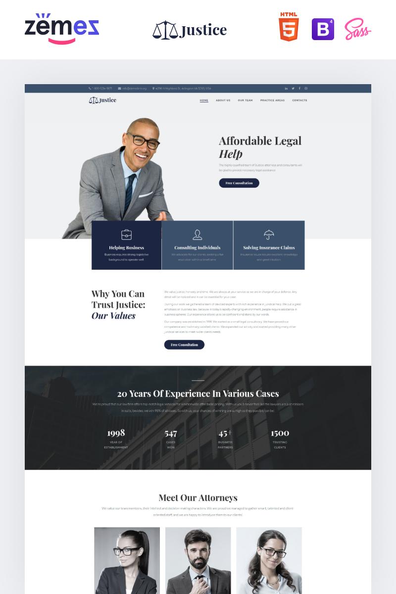 """""""Justice - Legal Firm"""" modèle  de page d'atterrissage adaptatif #97285"""