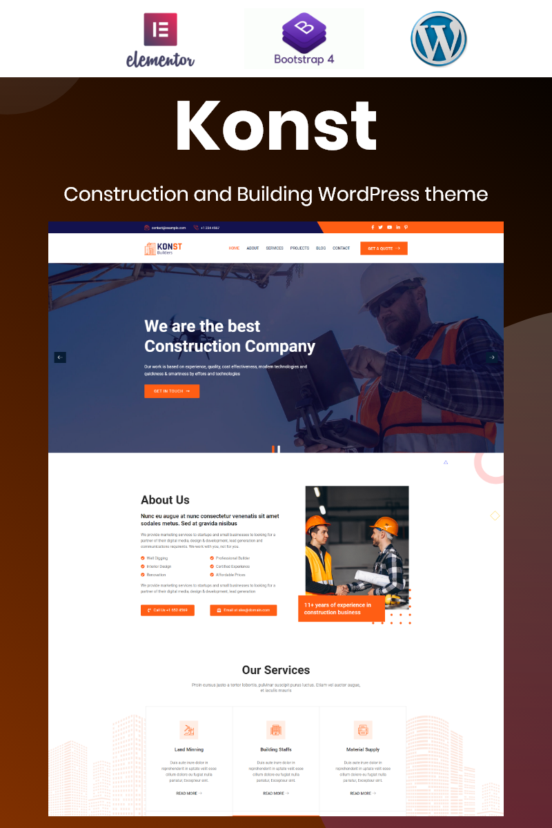 """Konst - Building and Construction Bootstrap Elementor"" 响应式WordPress模板 #97209"