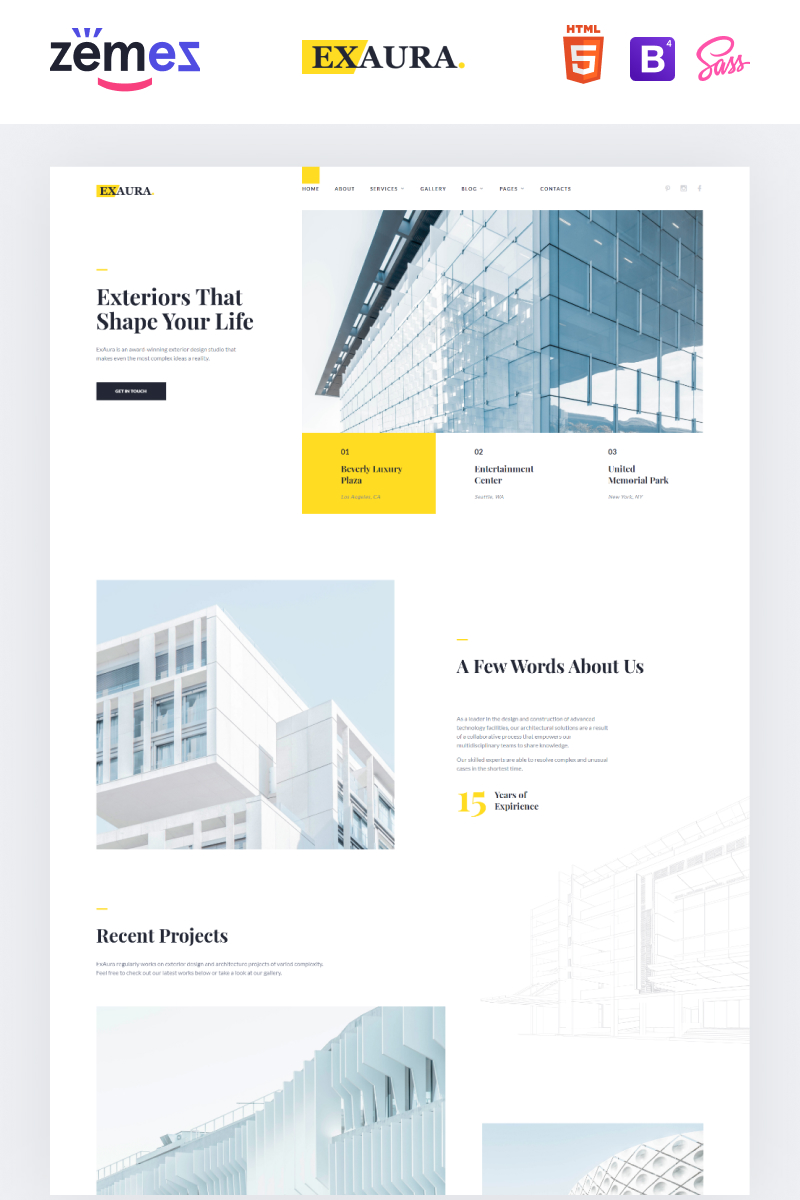 "Plantilla Web ""Exaura - Exterior Design Studio"" #97284"