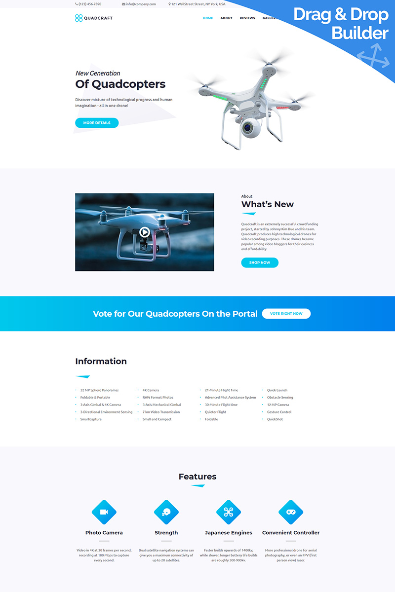 Quardcraft - Drone Moto CMS 3 Template
