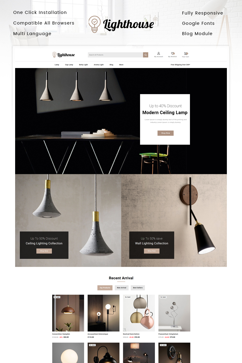Responsivt LightHouse - Lighting Store PrestaShop-tema #97207