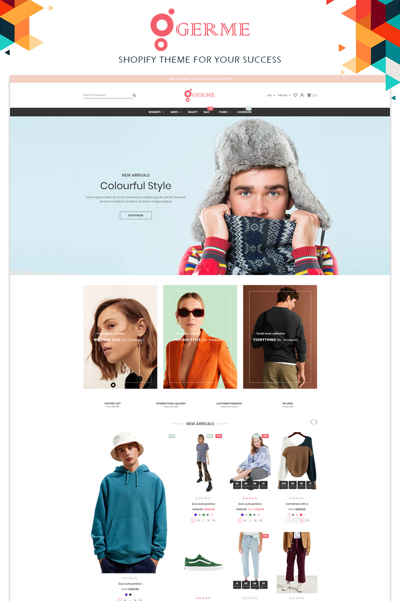 "Shopify Theme namens ""Germe Fashion Responsive"" #97212 - Screenshot"