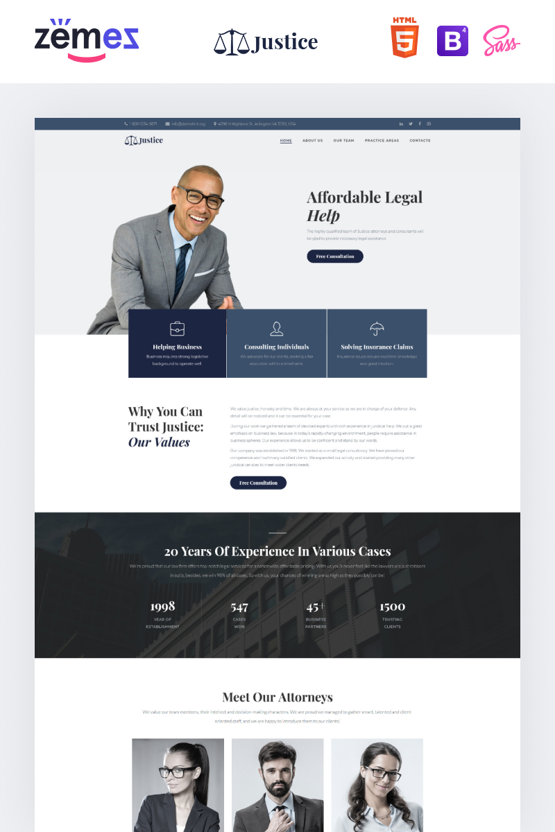 "Template di Landing Page Responsive #97285 ""Justice - Legal Firm"""