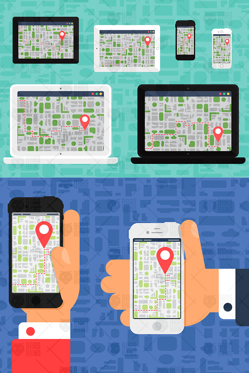 Electronic Offline Map On Devices Illustration #97386
