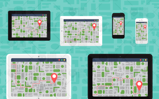 Electronic Offline Map On Devices - Illustration