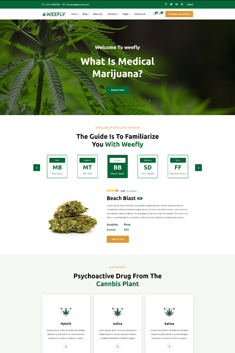 Responsivt Weefly   Medical Cannabis & Marijuana WordPress-tema #97395