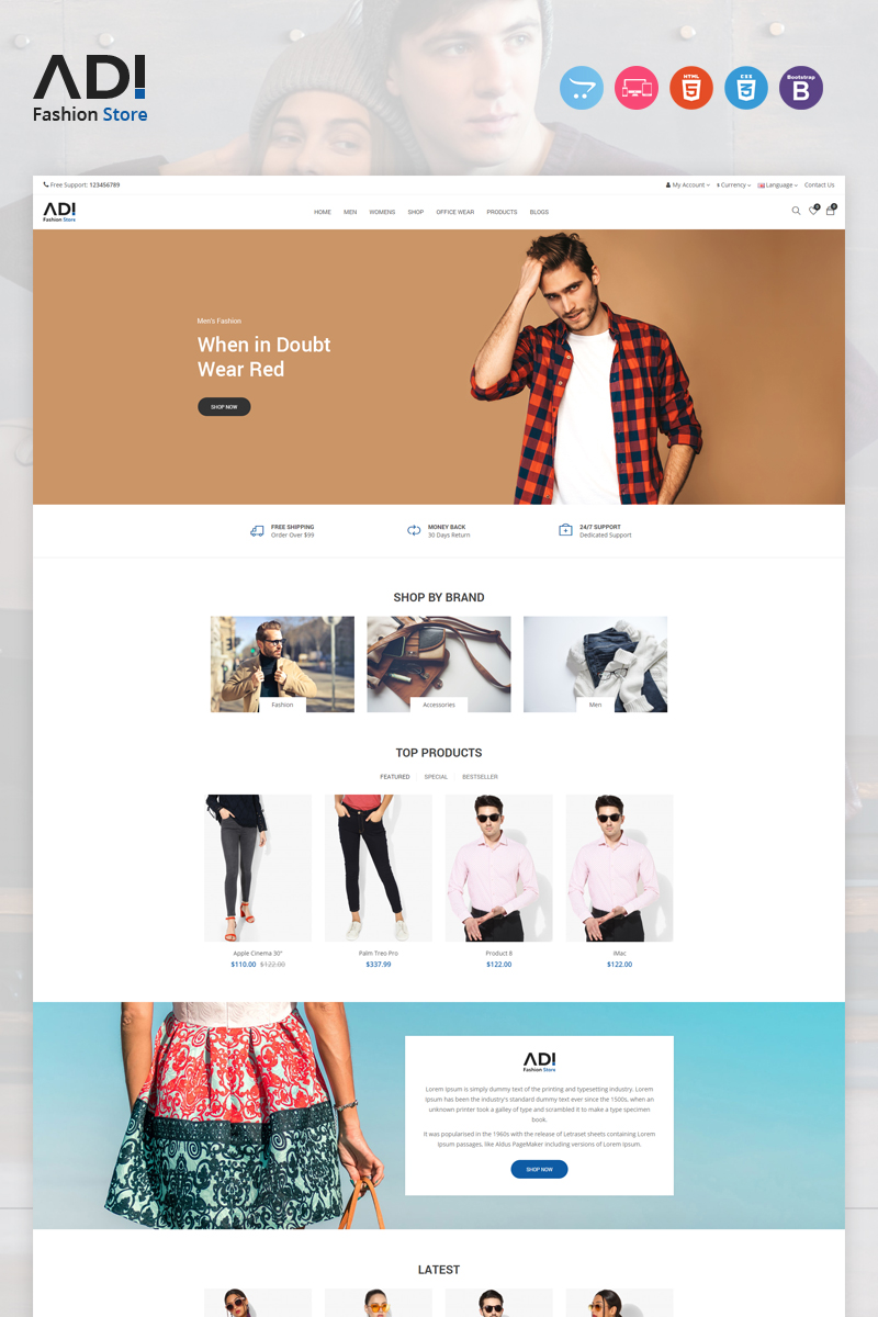 Responsywny szablon OpenCart Adi Fashion #97389