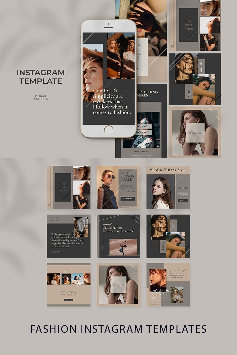 "Soziale Medien namens ""Fashion Minimlist Instagram Templates"" #97384"