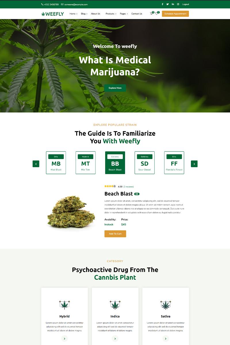 """Weefly | Medical Cannabis & Marijuana"" Responsive WordPress thema №97395"