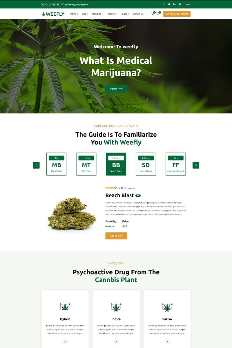 """Weefly   Medical Cannabis"" thème WordPress adaptatif #97395"