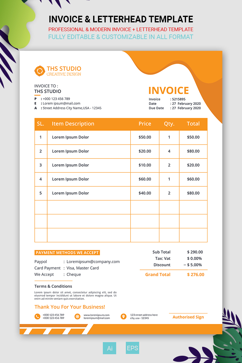 Invoice & Letterhead Corporate Identity Template