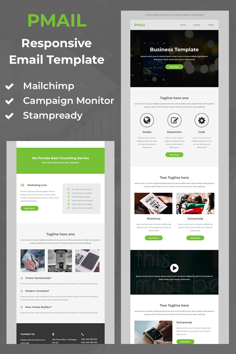 """Pmail - Responsive Email"" Nieuwsbrief Template №97401"
