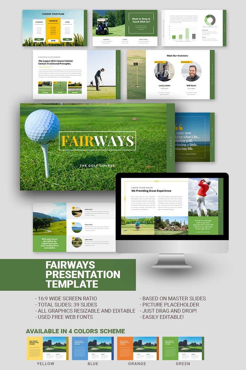 "PowerPoint Vorlage namens ""Fairways Golf Business"" #97466"