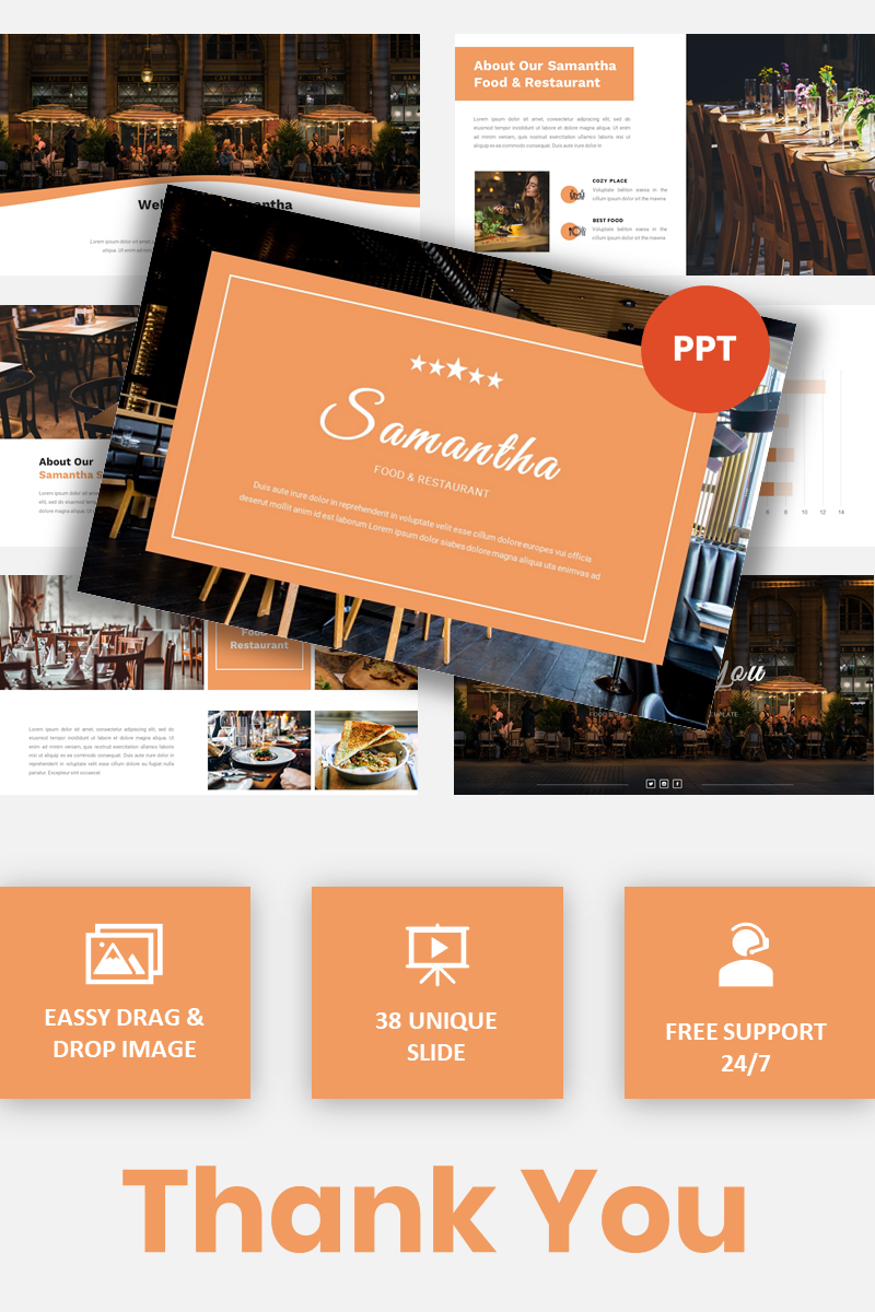 """Samantha - Food & Restaurant"" PowerPoint Template №97467"