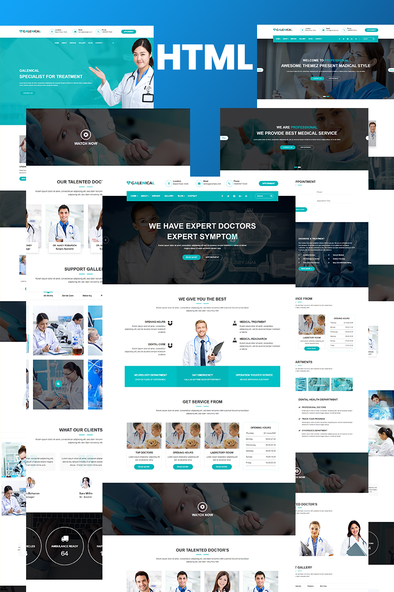 "Website Vorlage namens ""Gmadical - Medical & Health Service HTML5"" #97400"