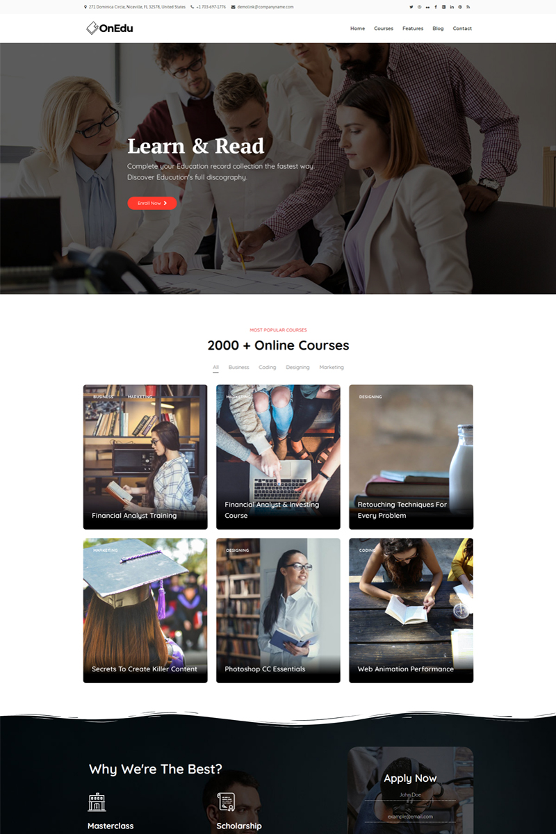 Onedu - Education Courses LMS WordPress Theme