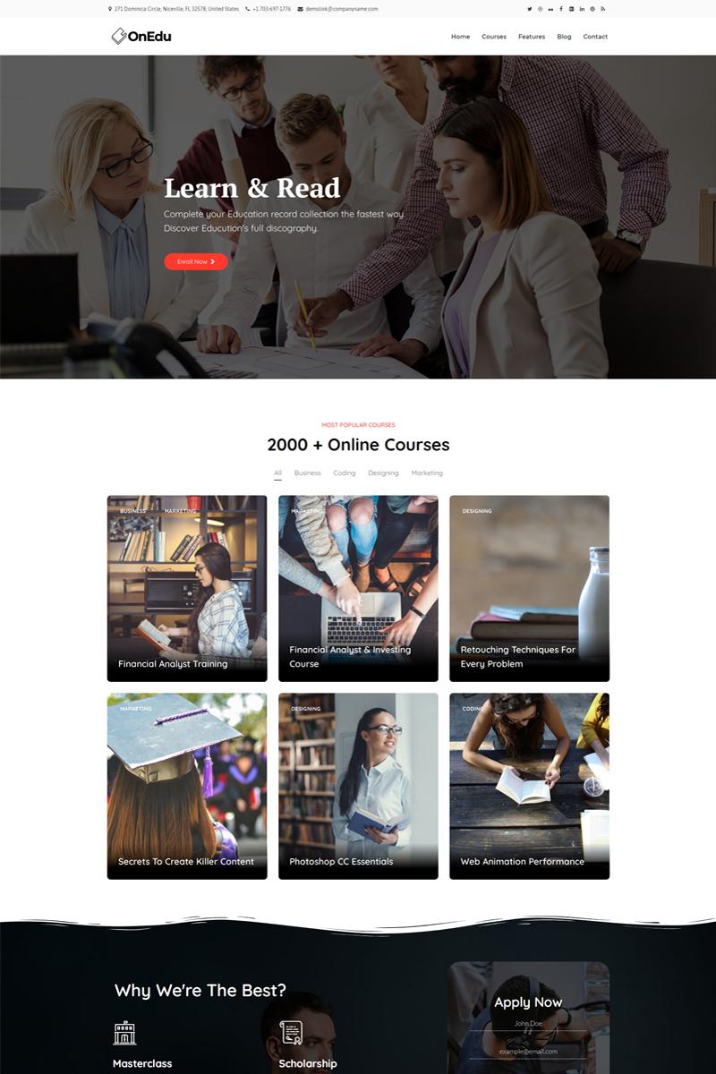 """Onedu - Education Courses LMS"" 响应式WordPress模板 #97510"