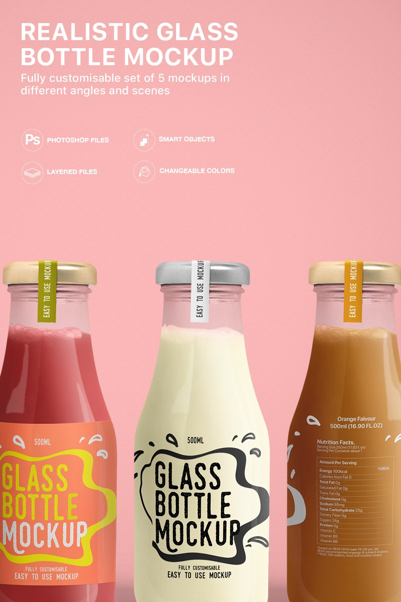 Realistic Glass Bottle Product Mockup
