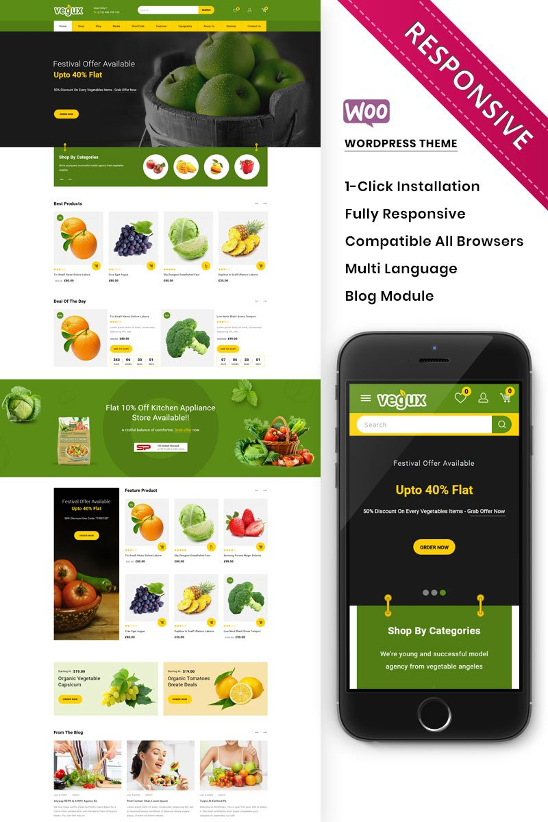 "Tema WooCommerce ""Vegux - The Mega Grocery Store"" #97509"