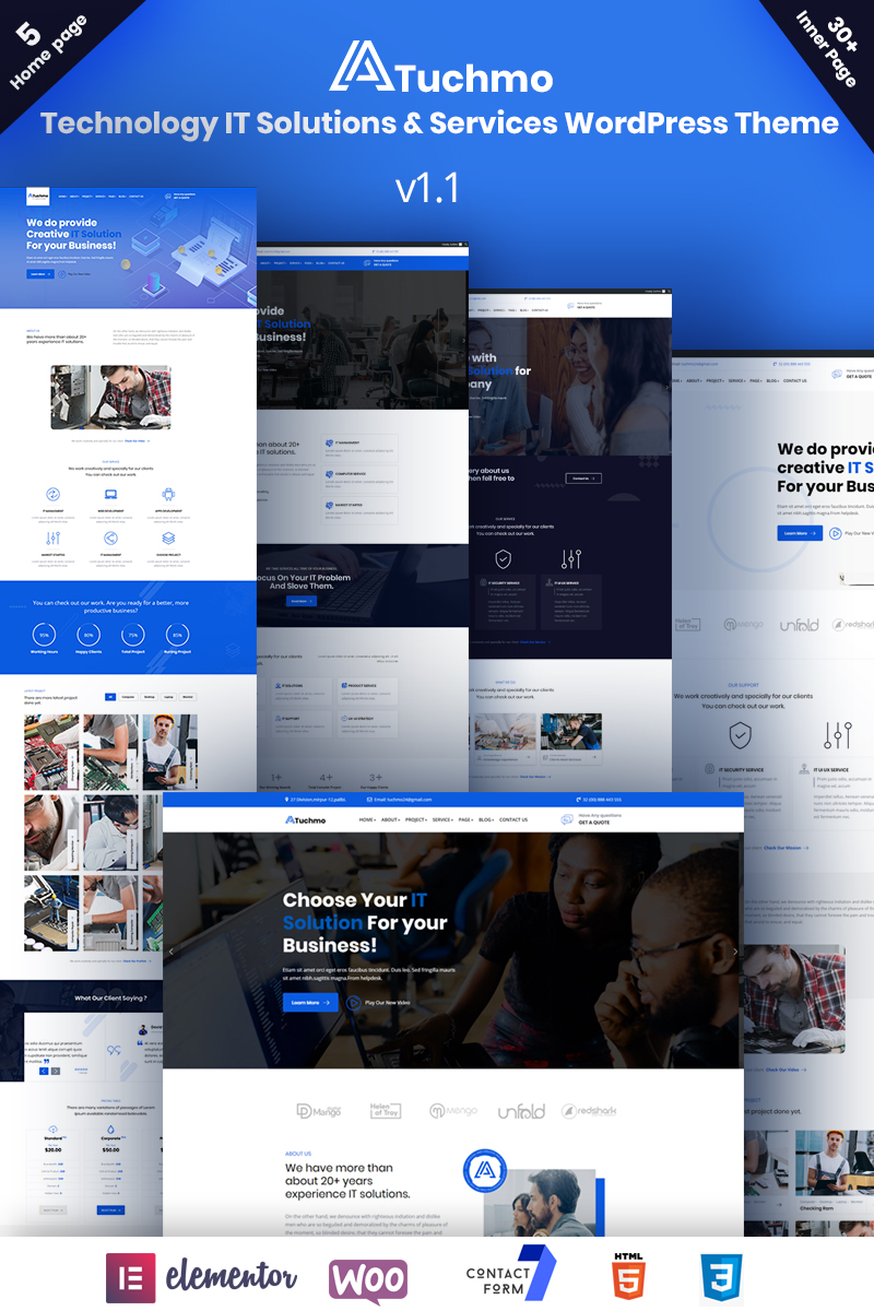 """""""Tuchmo - Technology IT Solutions  Services"""" thème WooCommerce adaptatif #97511"""