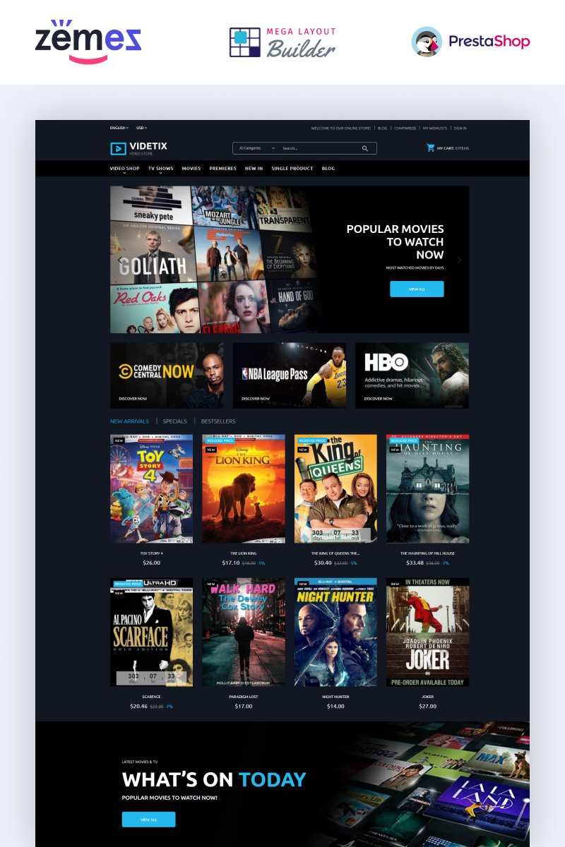 Videtix - Movies Online Store Template №97503
