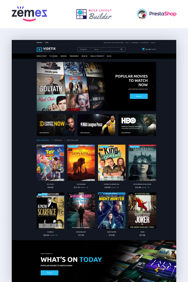 """Videtix - Movies Online Store Template"" thème PrestaShop adaptatif #97503"