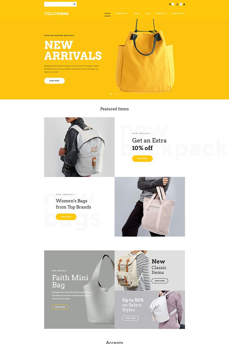 YellowBag - Backpacks Store MotoCMS Ecommerce Template