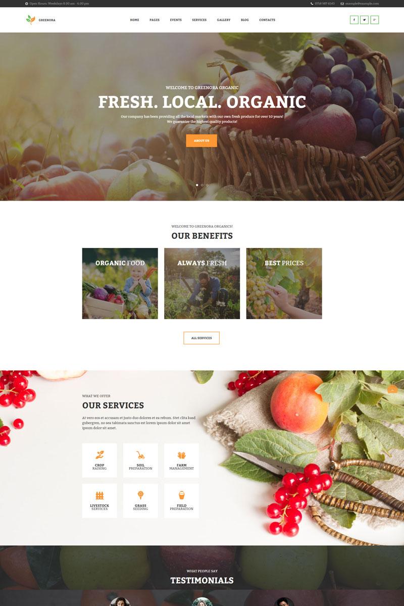 """Greenora - Organic Farming Agriculture"" Bootstrap WordPress thema №97754"