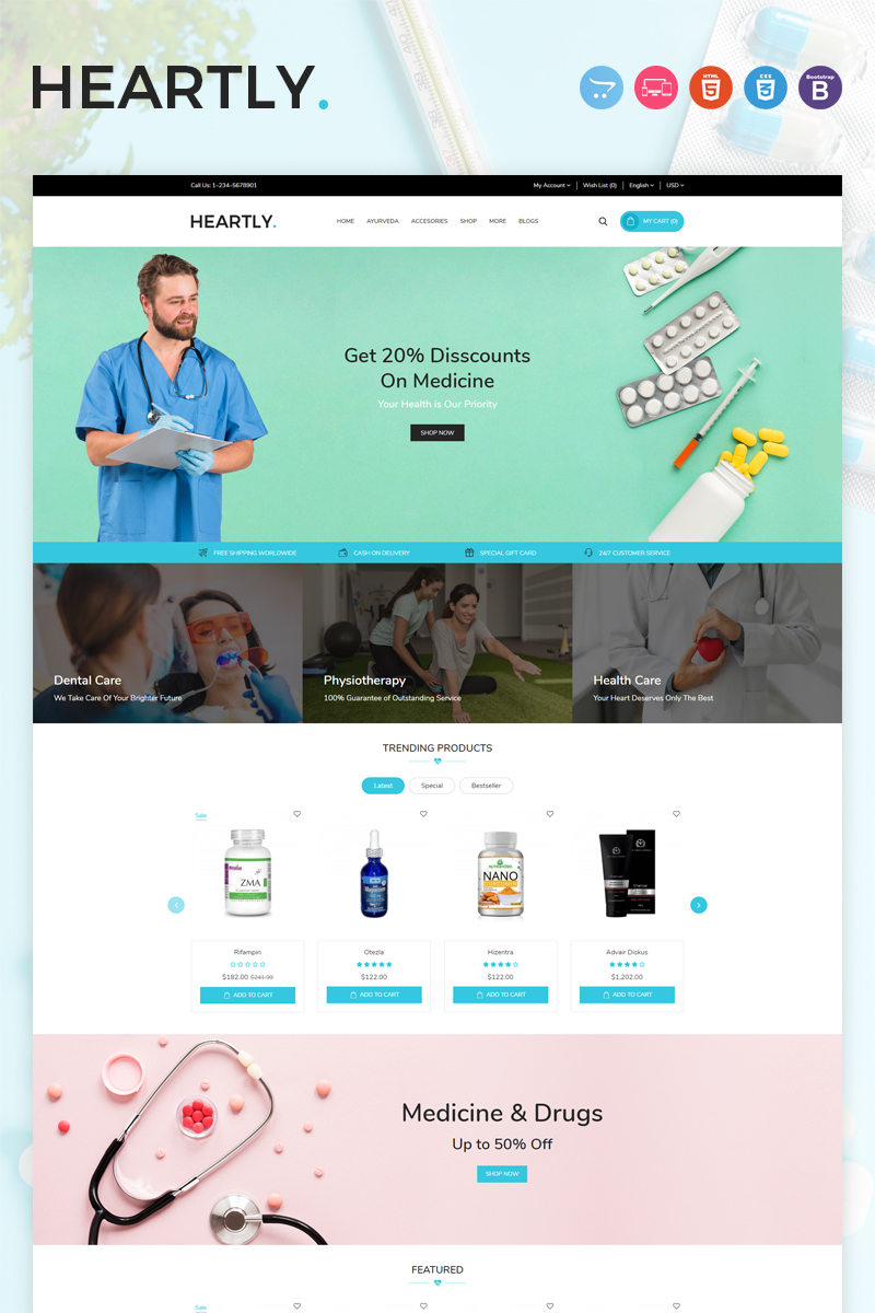 Heartly Template OpenCart №97751