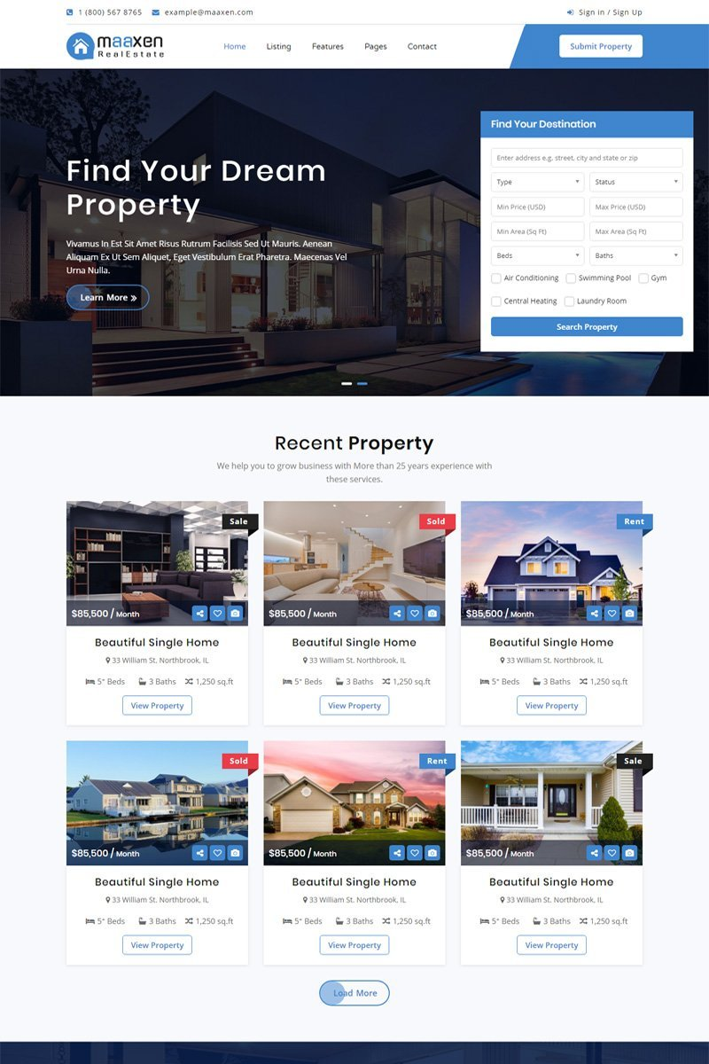 Maaxen - Real Estate Website Template
