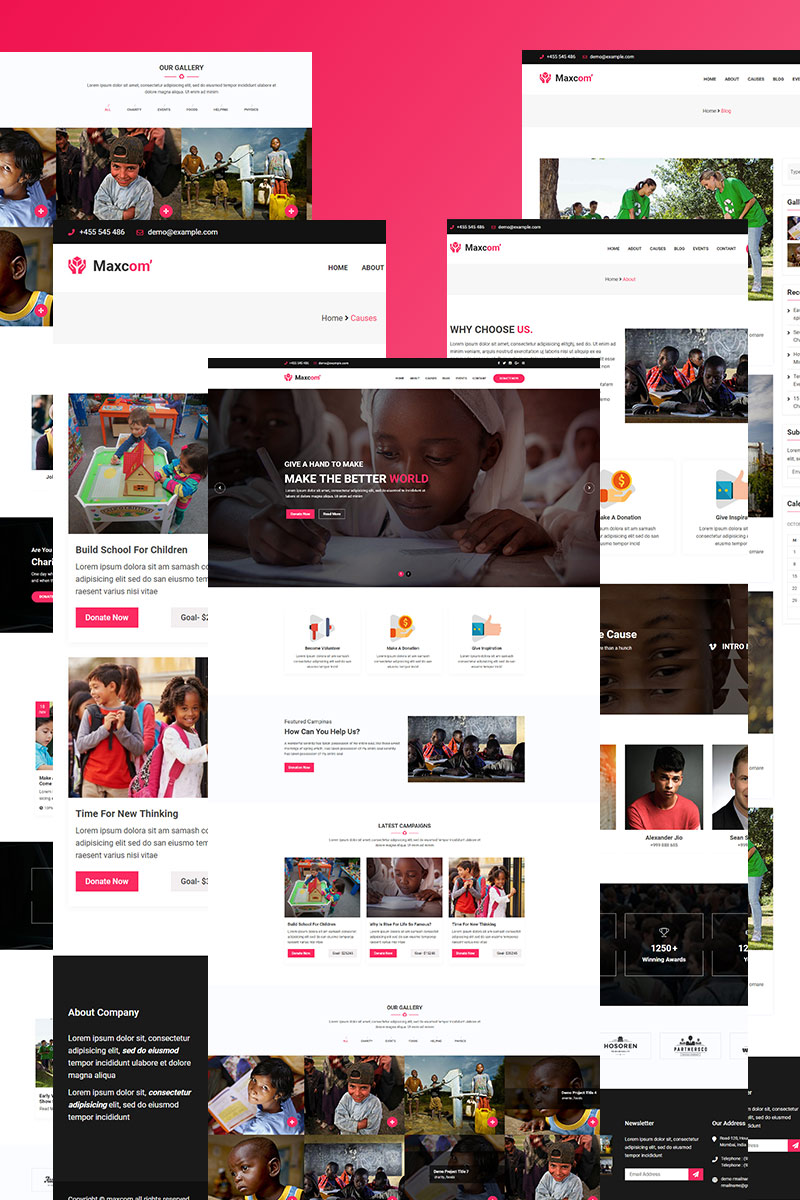 """Maxcom -Nonprofit Charity"" WordPress模板 #97745"