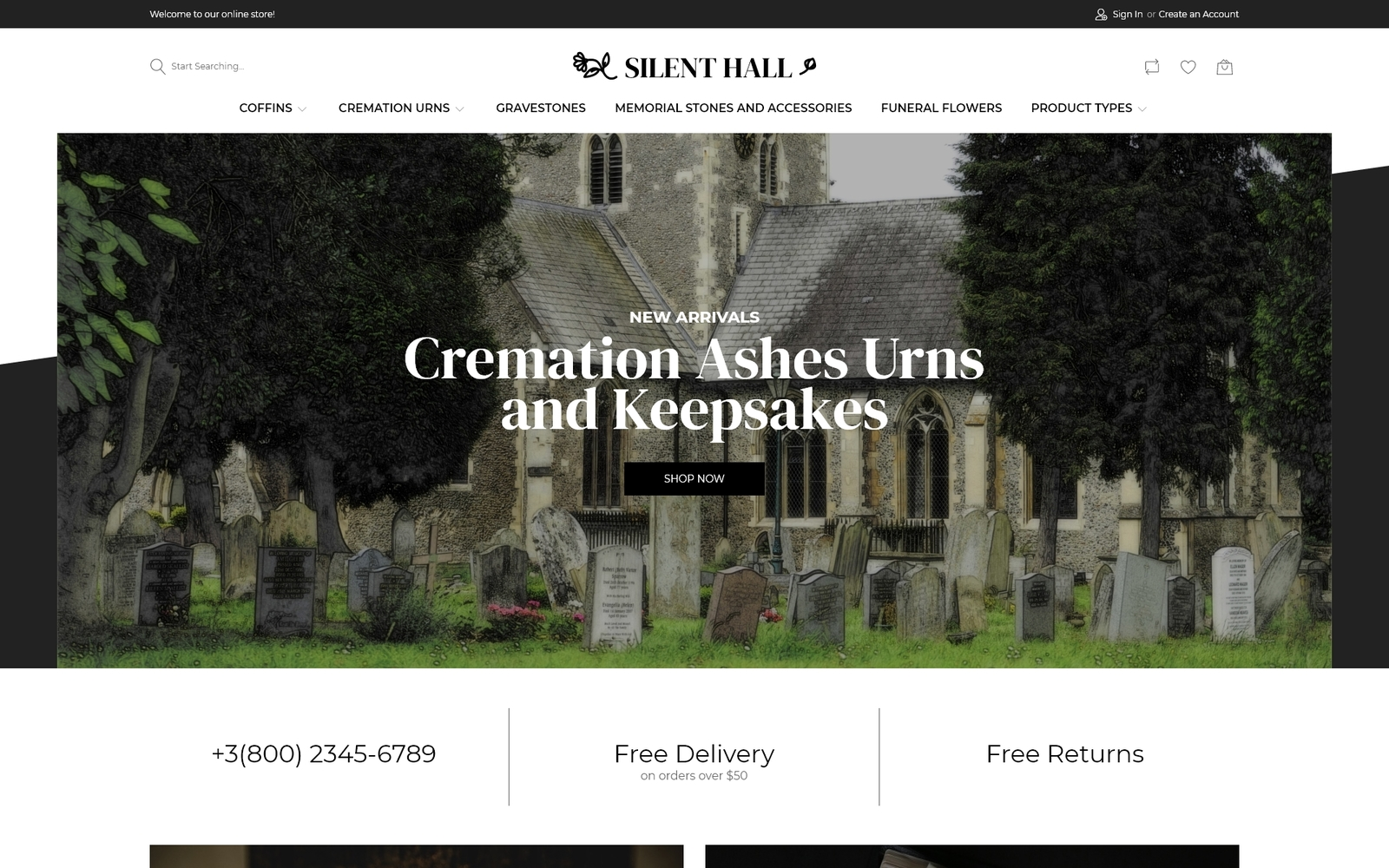 "Responzivní Magento motiv ""Silent Hall - Funeral Services eCommerce Template"" #97741"
