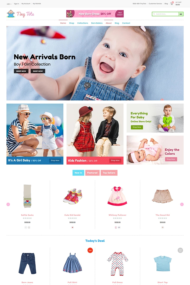 """TinyTots - Kids & Baby"" Shopify模板 #97753"