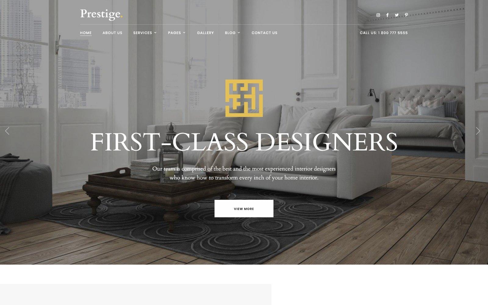 "Website Vorlage namens ""Prestige - Interior Design Studio"" #97744"