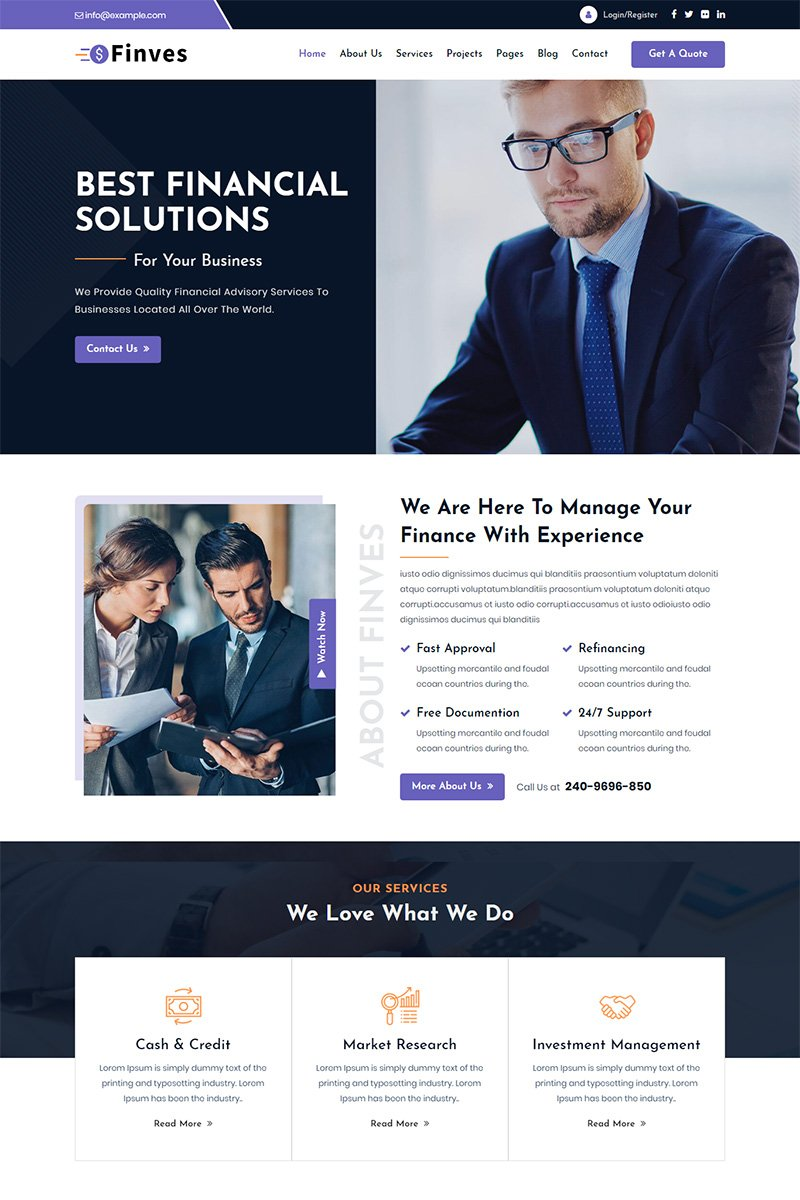 Finves - Financial Advisor Responsive HTML Website Template