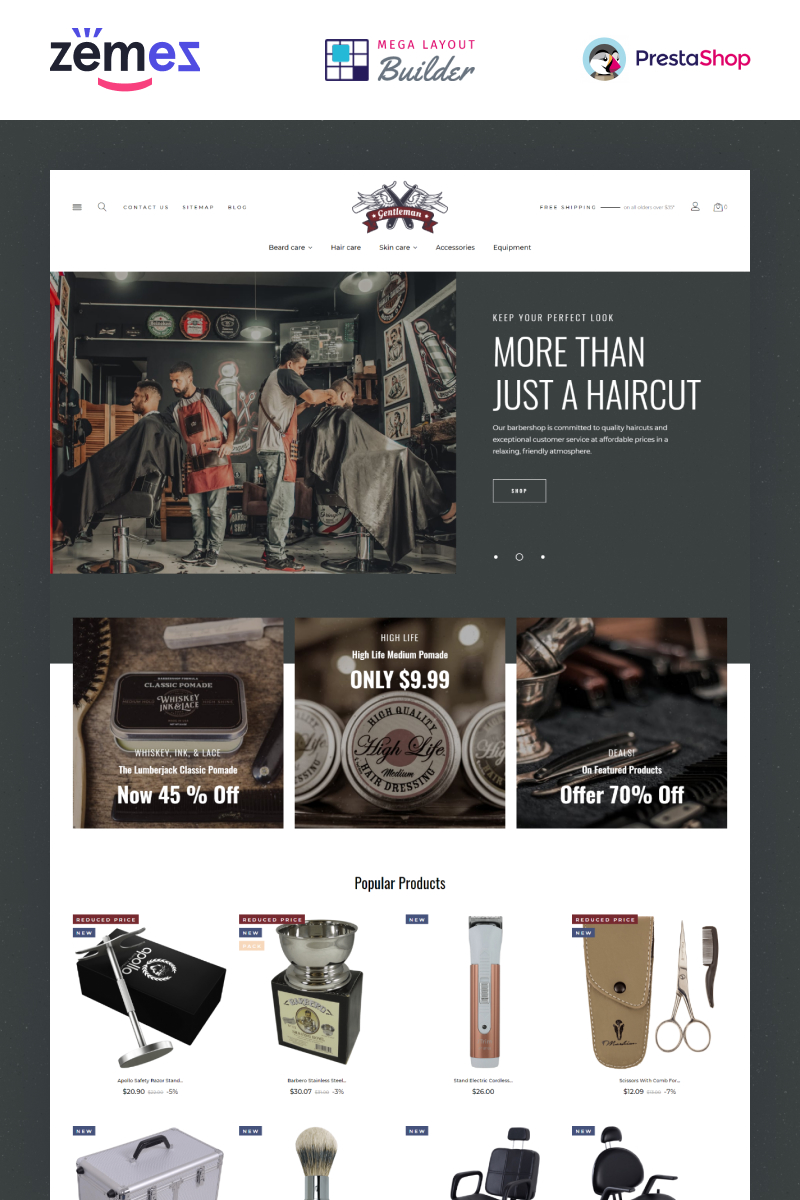 """Gentleman - Barbershop eCommerce Template"" thème PrestaShop adaptatif #97860"