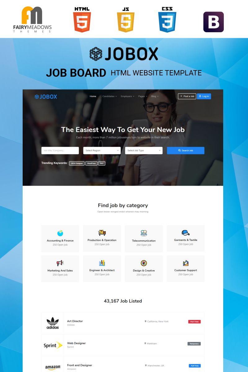 """Jobox - Job Board HTML5"" 响应式网页模板 #97869"