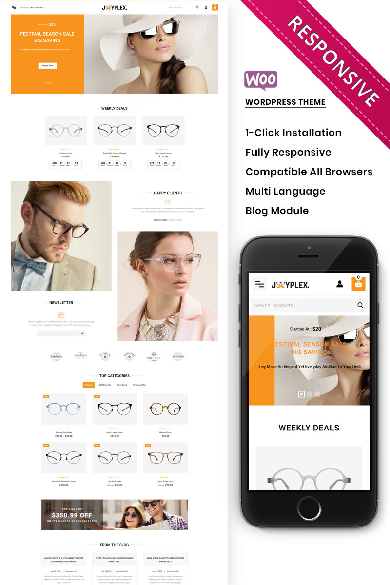 Joyplex - The Eye Glasses Store WooCommerce Theme